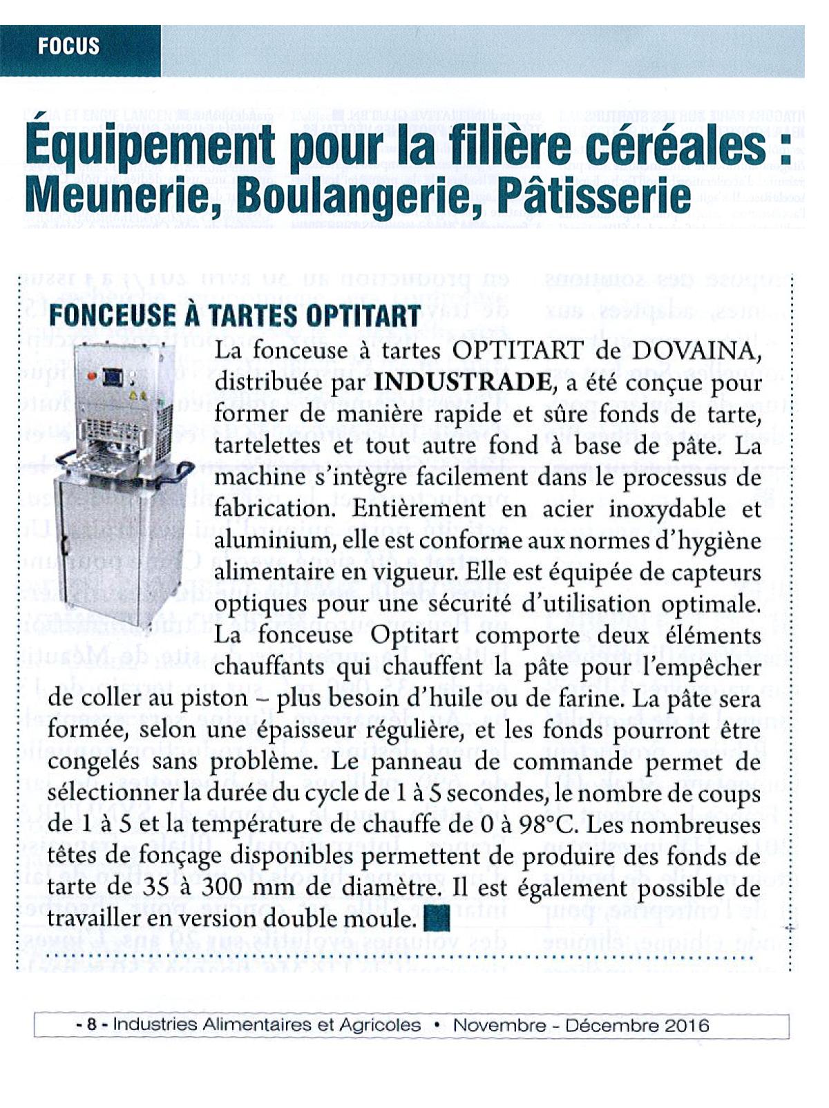 Fonceuse tartes optitart industrade for Equipement pour traiteur